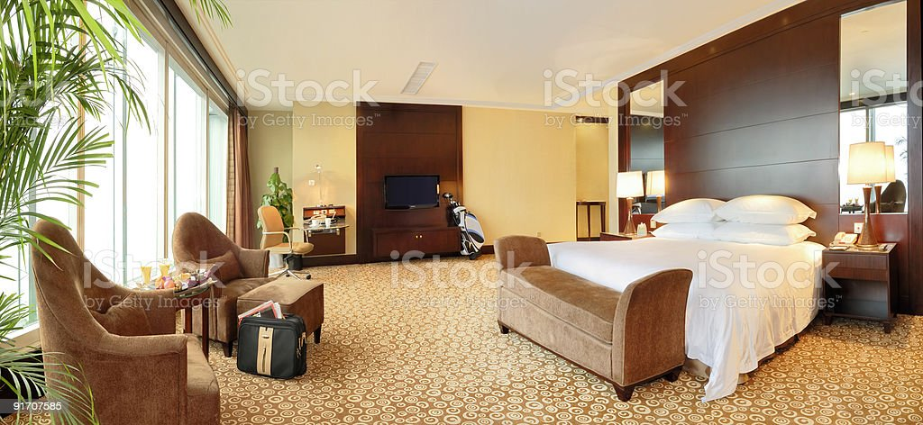 Hotel room interior showing with panoramic windows royalty-free stock photo