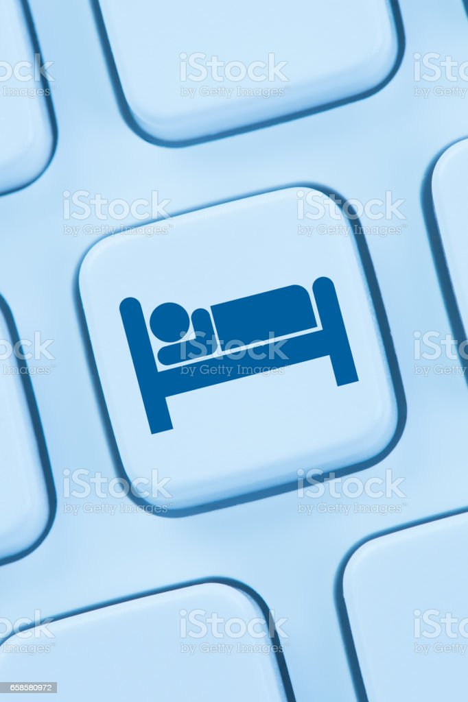Hotel room stay online internet booking computer stock photo