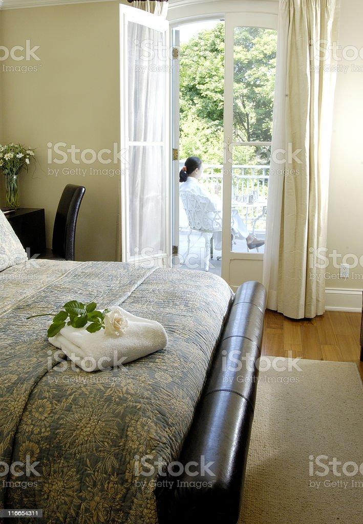 Hotel room with balcony royalty-free stock photo