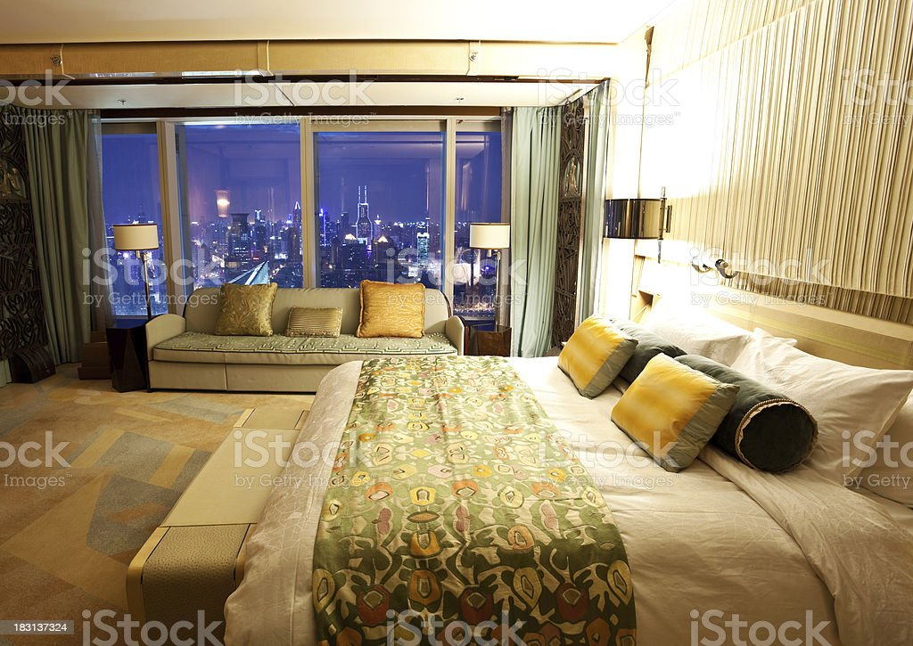 Hotel room with beautiful night scene royalty-free stock photo