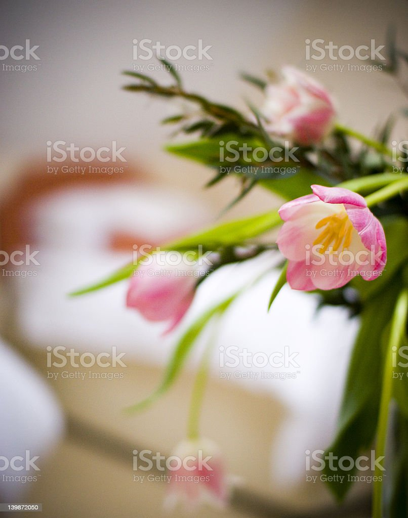 Hotel room with flowers royalty-free stock photo