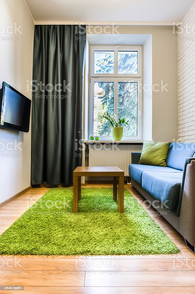 Hotel room with green rug stock photo