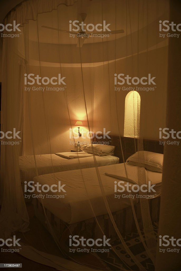 Hotel Room With Mosquito Netting royalty-free stock photo