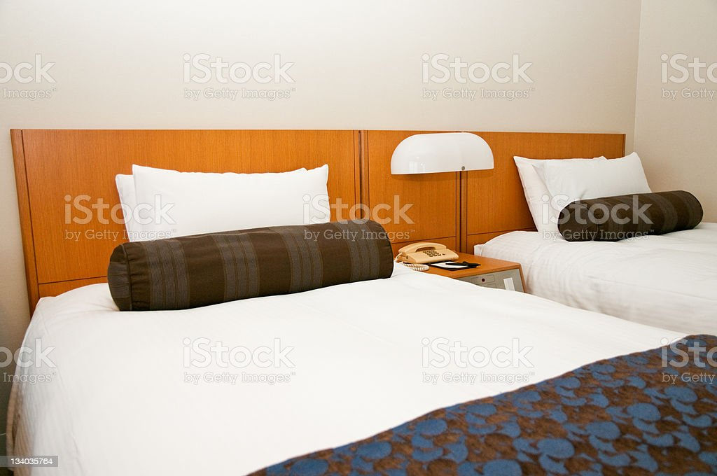 Hotel room with twin beds royalty-free stock photo
