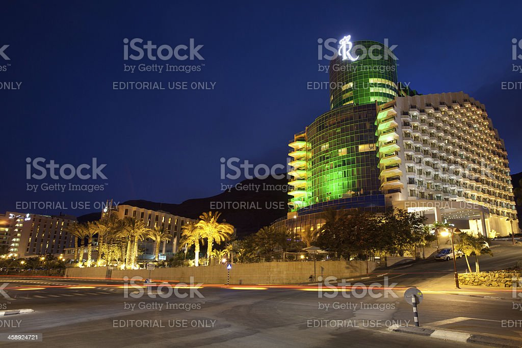 Hotel Royal Rimonim at night, Dead Sea, Israel royalty-free stock photo