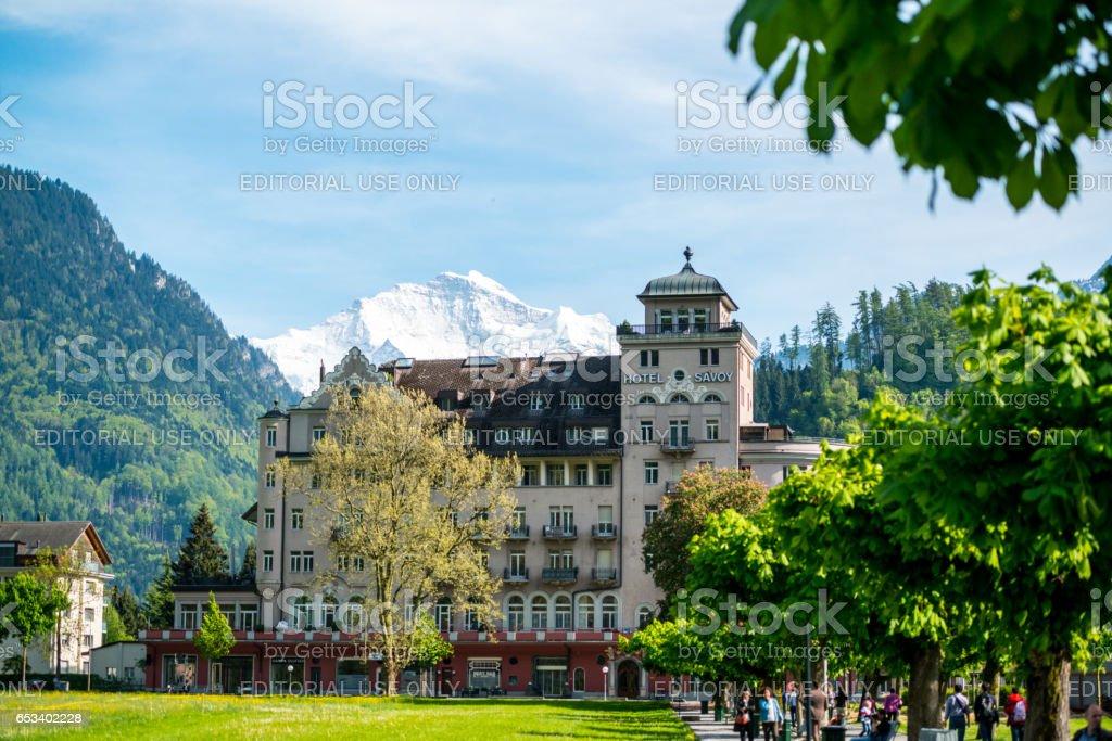 Hotel Savoy in Interlaken, Switzerland stock photo