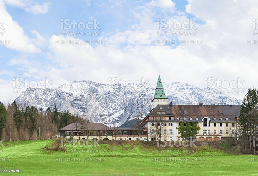 Hotel Schloss Elmau in Bavarian Alpine valley G7 summit 2015 stock photo
