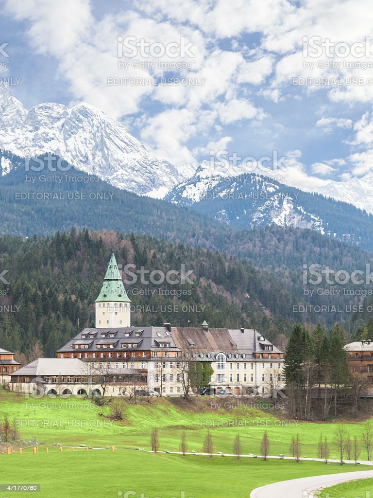 Hotel Schloss Elmau palace vertical landscape stock photo