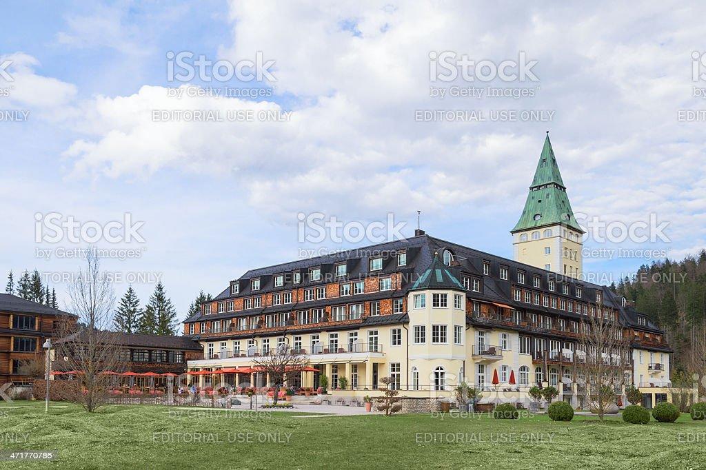 Hotel Schloss Elmau royal luxury residence in Bavarian Alpine va stock photo