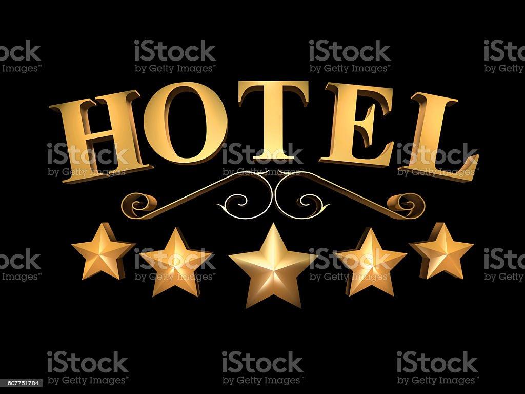 Hotel sign - 5 stars (3D illustration). stock photo