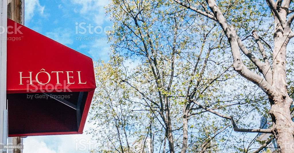 Hotel sign in France stock photo