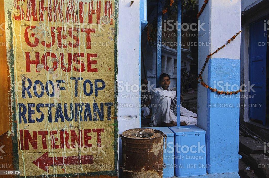 Hotel Sign, Varanasi stock photo