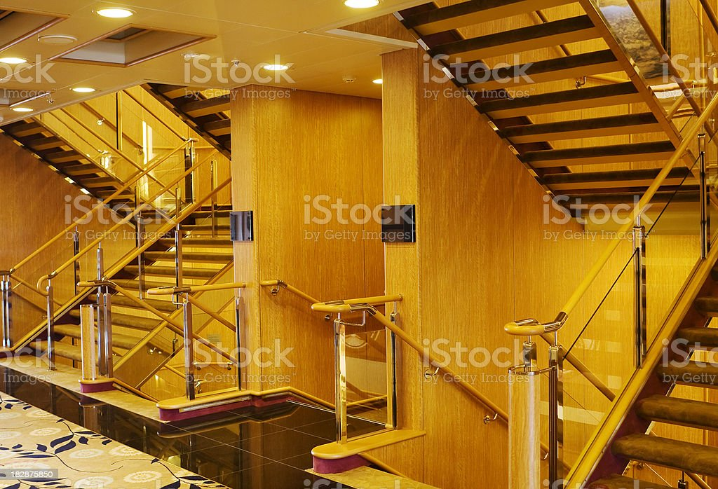 Hotel staircase, mood lighting stock photo
