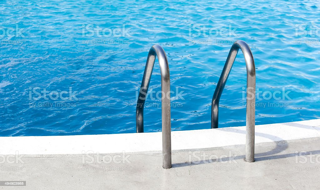 Hotel swimming pool handle stock photo
