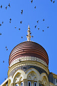 Hotel Taj with flying birds and blue sky