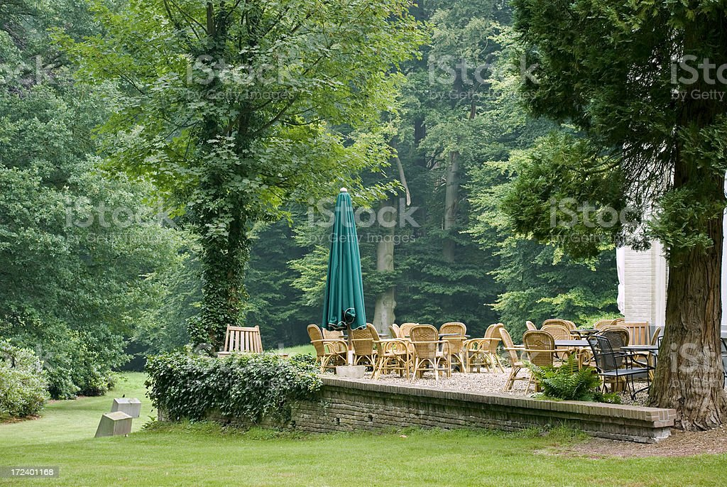 Hotel Terrace in Forest royalty-free stock photo