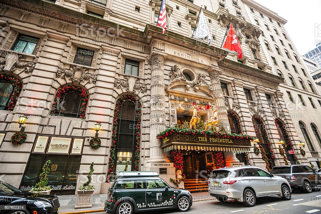 Hotel The Peninsula decorated for winter holidays, New York stock photo