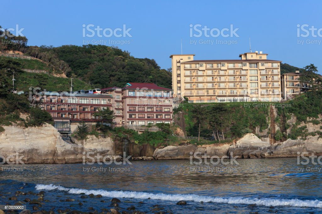 Hotel to be built on the coast of Japan. stock photo