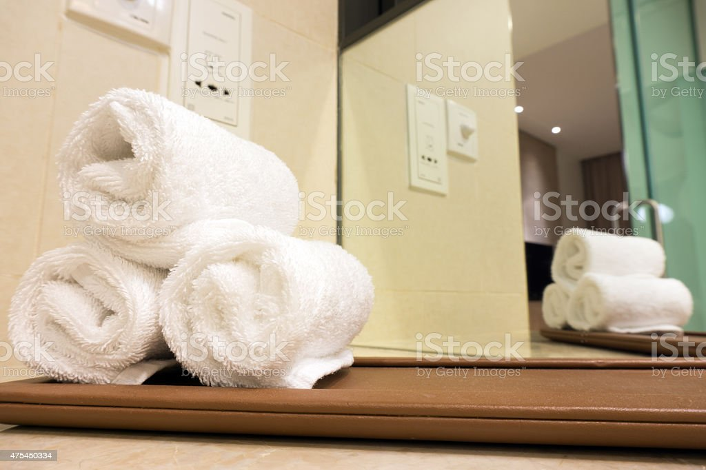 Hotel towels stock photo