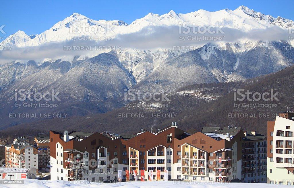 hotel village at the ski resort, snowy Caucasian Mountains stock photo