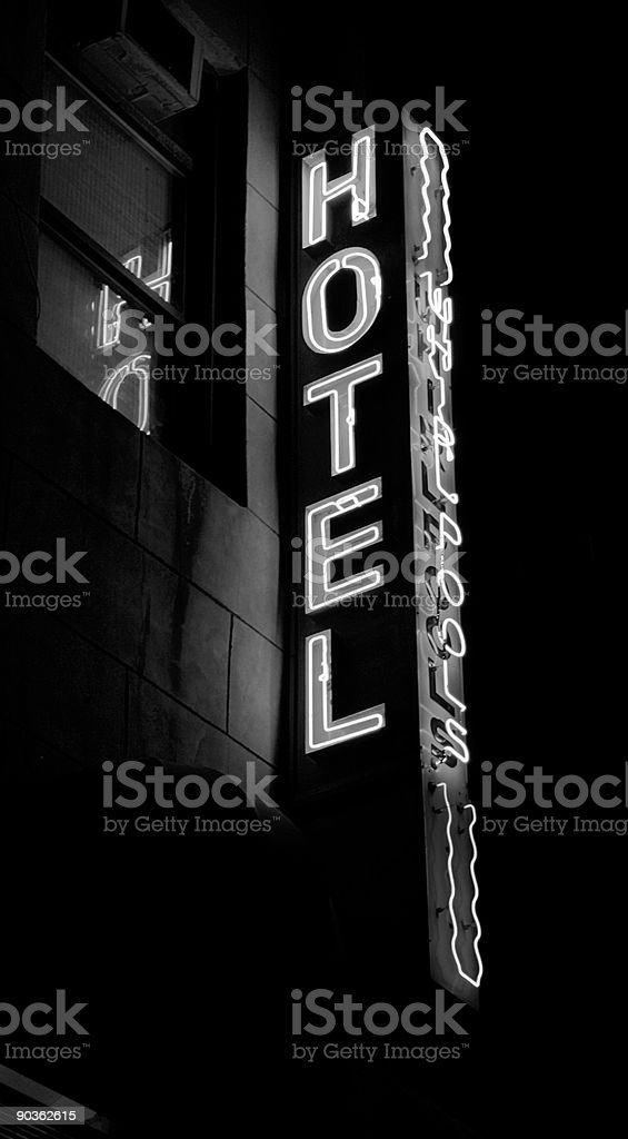 Hotel Whirlpools neon sign black & white royalty-free stock photo