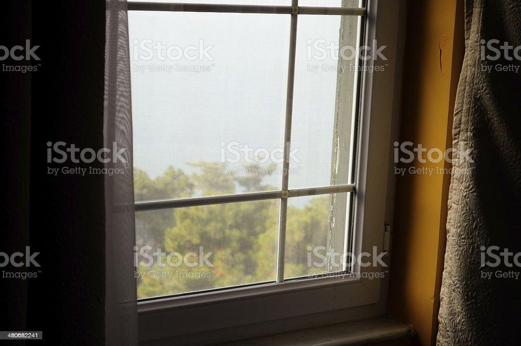 Hotel window stock photo