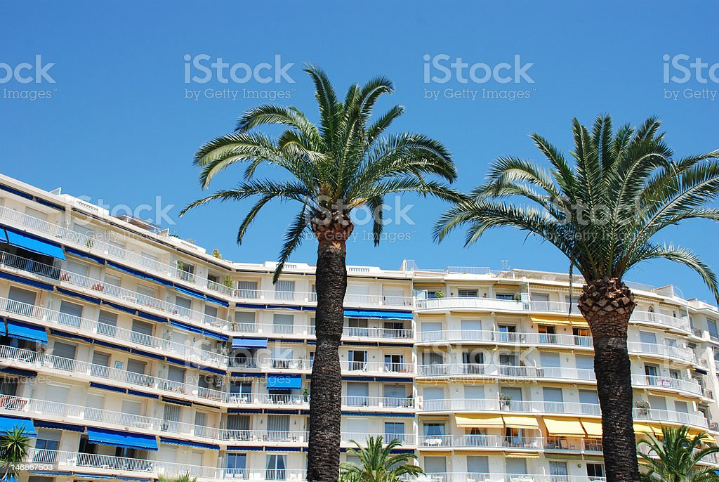 Hotel with palmtrees royalty-free stock photo
