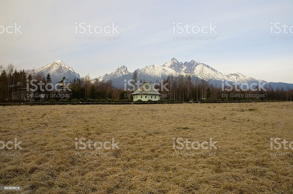 Hotel with the mountain in background royalty-free stock photo