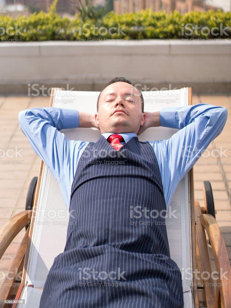 Hotel worker taking a break stock photo