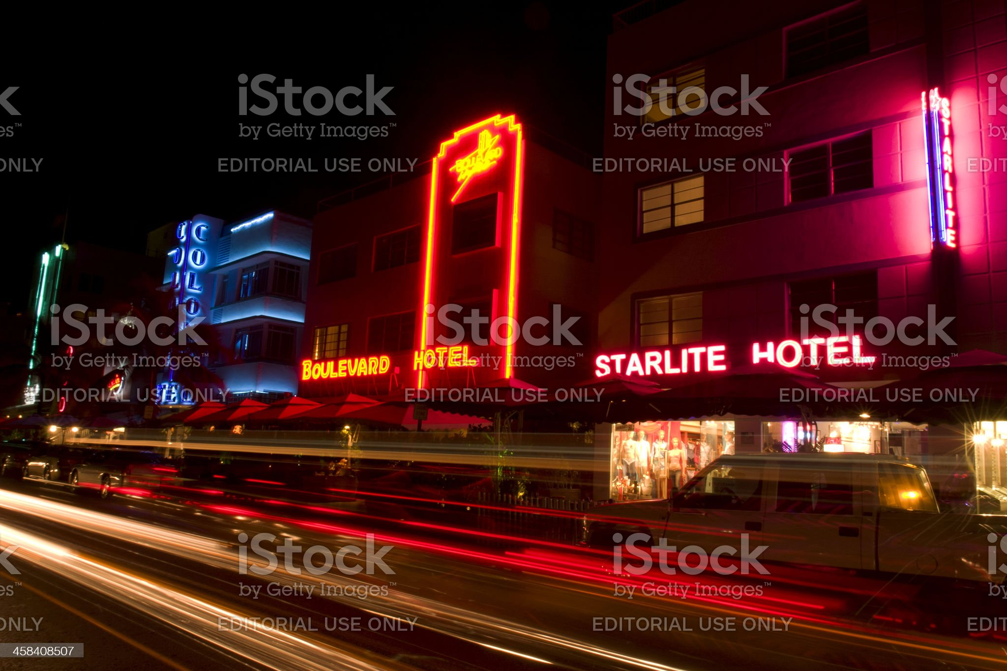 Hotels Along Ocean Drive in South Beach, Miami Florida royalty-free stock photo