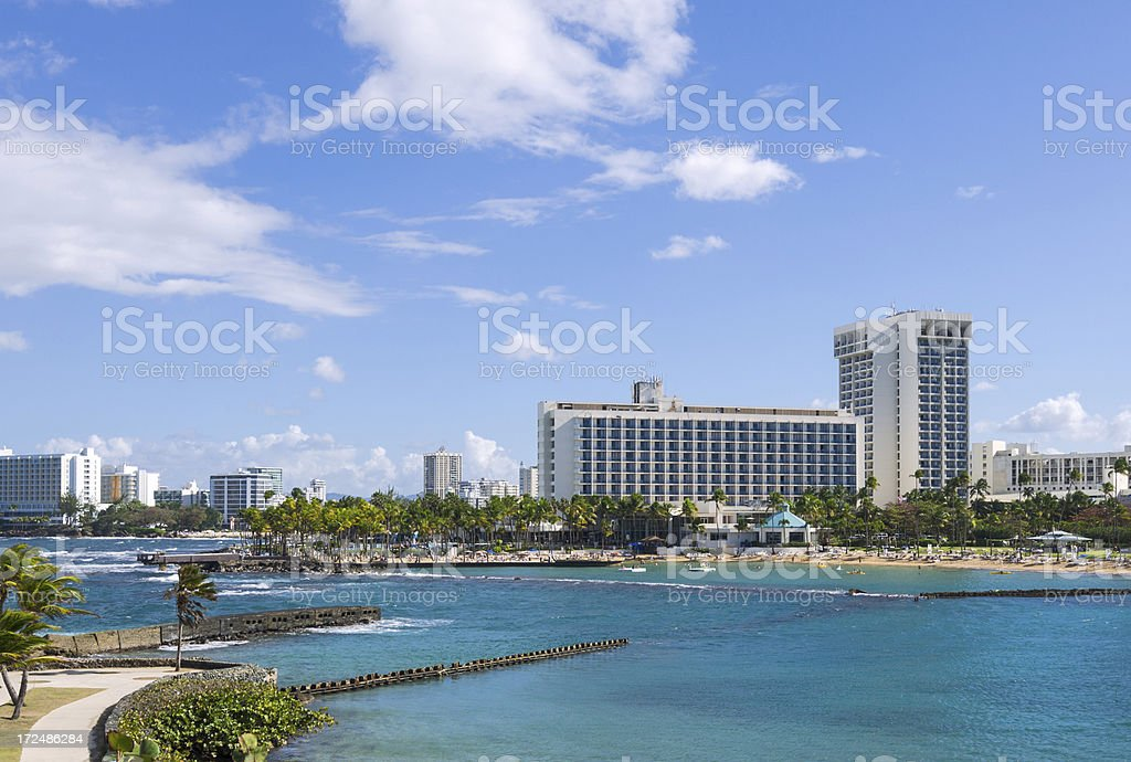Hotels and buildings in San Juan, Puerto Rico stock photo