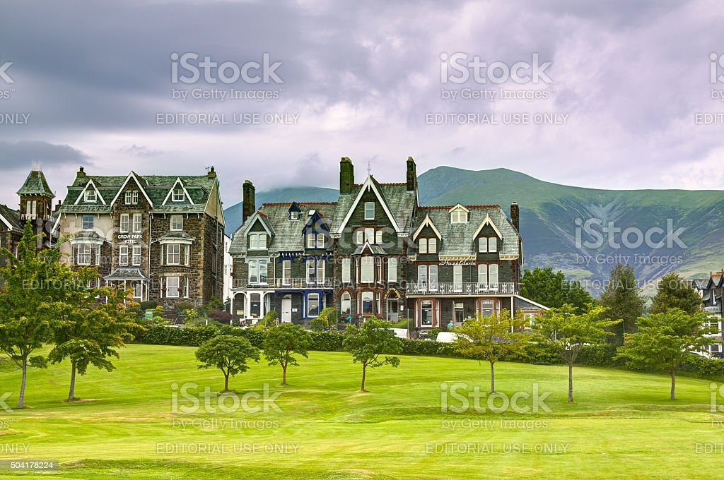 Hotels in Small English Town, Keswick, Lake District, England. stock photo