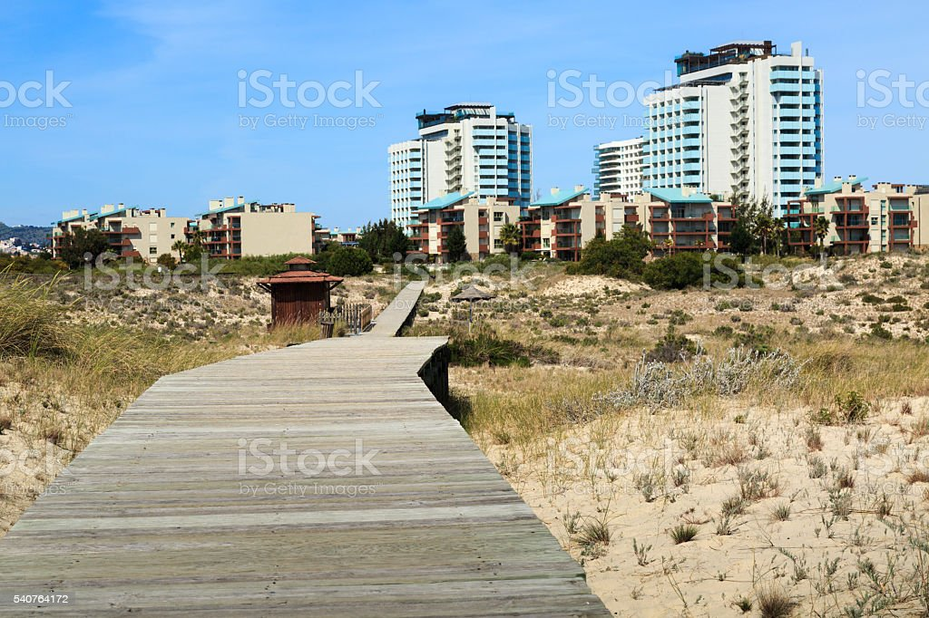 Hotels of Troia viewed from ground footbridge level stock photo