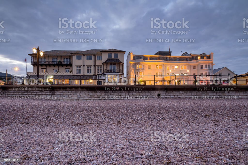 Hotels on the coast in the town of Sidmouth stock photo