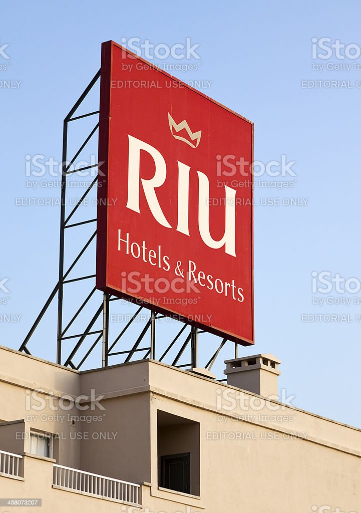 RIU Hotels & Resorts logo on billboard stock photo