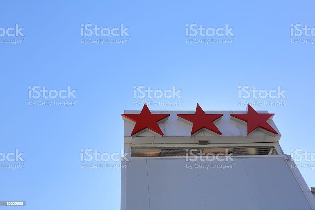 Hotel's three stars stock photo