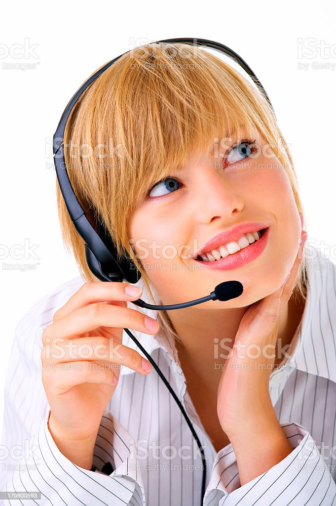 Hotline operator with headset stock photo