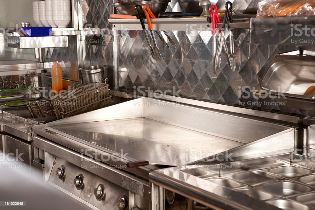 Hotplate cooker in  fast food restaurant kitchen stock photo