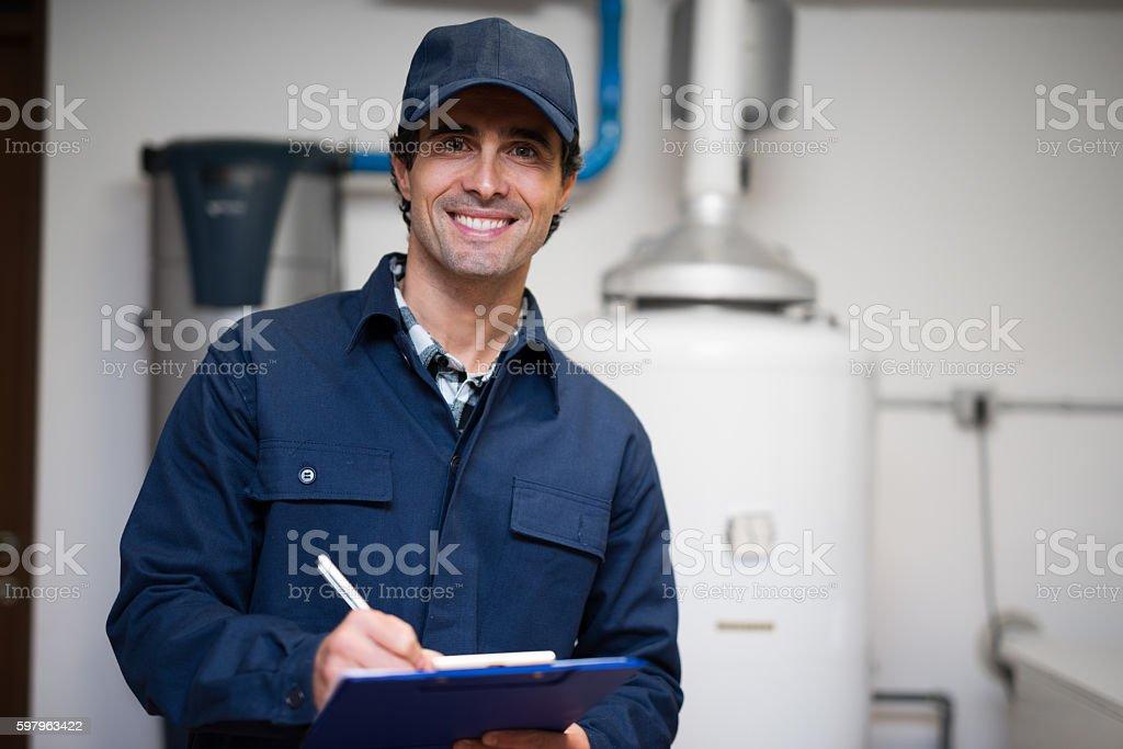 Hot-water heater service stock photo