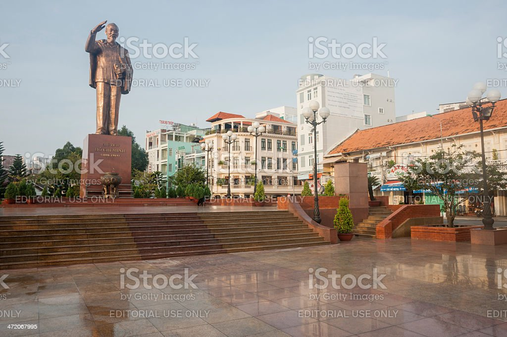 Hou Chi Minh statue in Can Tho, Vietnam. stock photo