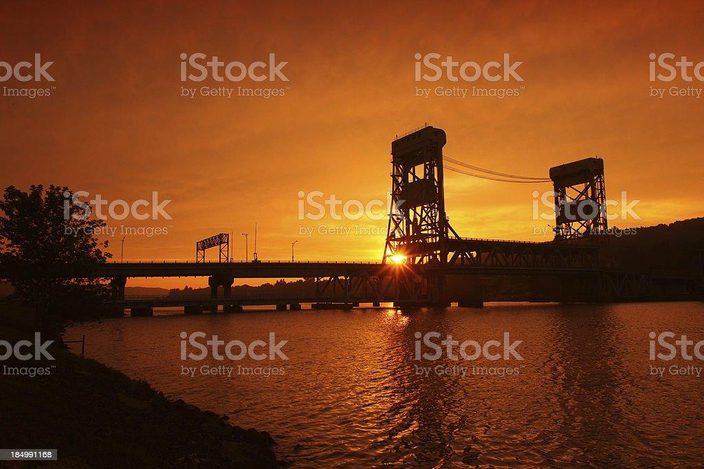 Houghton lift bridge sunset stock photo