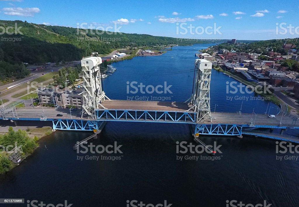 Houghton's historical lift bridge in Keweenaw Peninsula stock photo