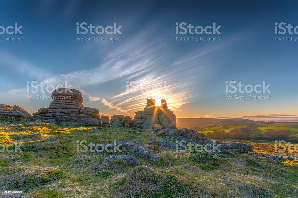 Hound Tor at sunset stock photo