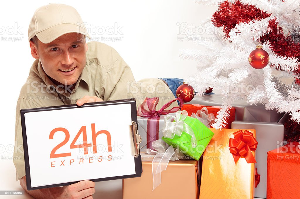 24 hour express delivery, even on christmas! stock photo