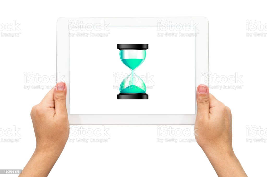 Hour Glass İcon with holding tablet stock photo