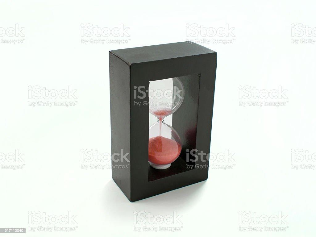 Hourglass clock on white background stock photo