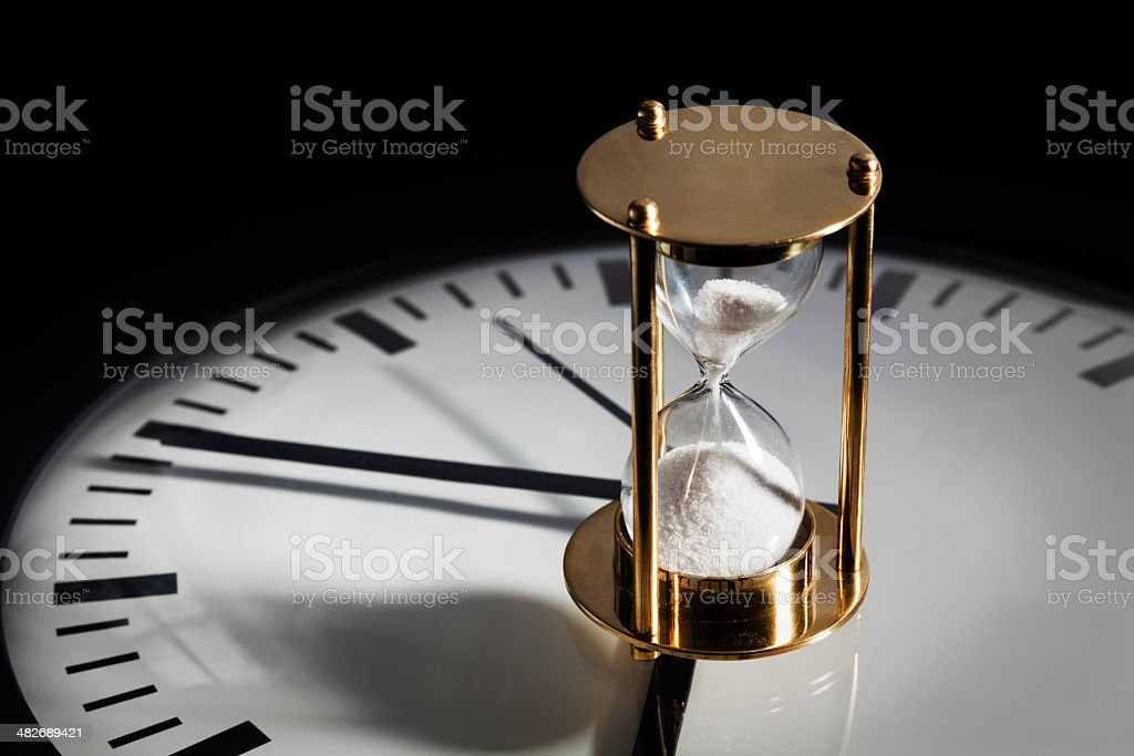 Hourglass & Clock stock photo