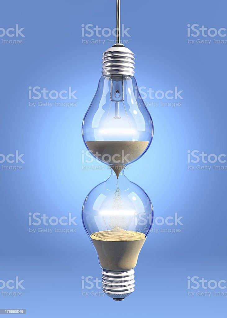 Hourglass lightbulb stock photo