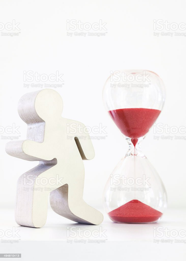 Hourglass red with icon stock photo