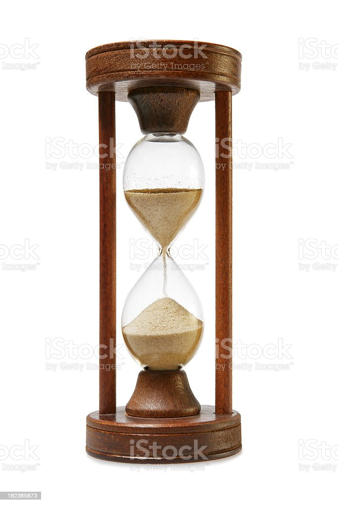 Hourglass running out of time royalty-free stock photo